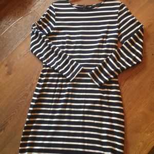 Jcrew midi dress navy and white striped